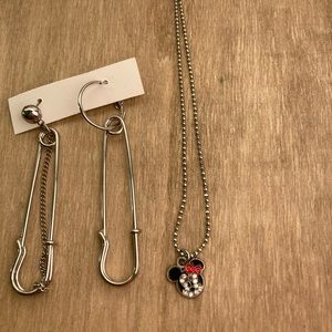 Minnie Mouse Necklace + Drop Earrings